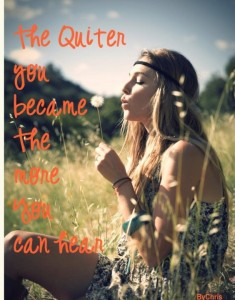 the quieter you become the more you can hear...